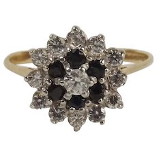 9ct Yellow Gold Sapphire & Cubic Zirconia Flower Head Ring UK Size R US 8 ¾