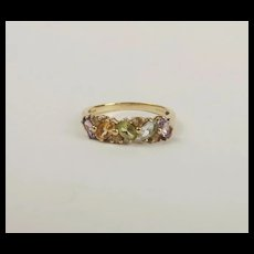 9ct Yellow Gold Multi Stone Cluster Ring UK Size R+ US 8 ¾