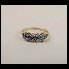 9ct Yellow Gold Blue & White Glass Cluster Ring UK Size Q+ US 8 ¼