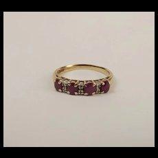 9ct Yellow Gold Ruby & Diamond Ring UK Size P US 7 ½
