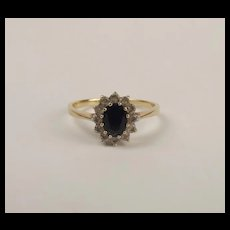 9ct Yellow Gold Sapphire & Cubic Zirconia Flower Head Ring UK Size V US 10 ½