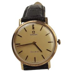 Gents 9ct Yellow Gold Omega Geneve Wrist Watch c1970