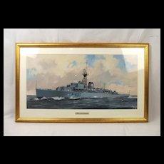 Don Micklethwaite Watercolour Of Frigate HMS Loch Lomond