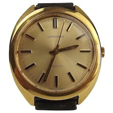 Gents Gold Plated Longines Conquest Wrist Watch c1972
