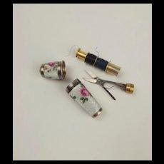 German Silver Guilloche Enamel Thimble Sewing Set c1926