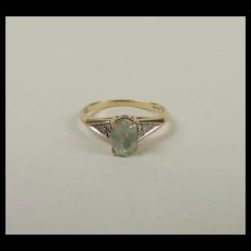 9ct Yellow Gold Aquamarine & Diamond Ring UK Size N US 6 ½