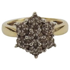 9ct Yellow Gold 0.25CTW Diamond Cluster Ring UK Size K US 5 ¼