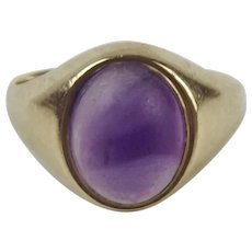 9ct Yellow Gold Amethyst Ring UK Size L US 5 ¾