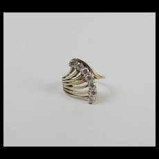 9ct Yellow Gold Cubic Zirconia Ring UK Size F+ US 3 ¼