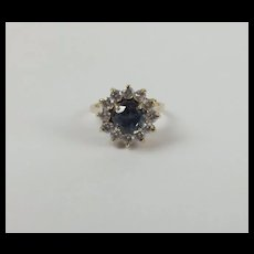 9ct Yellow Gold Spinel & Cubic Zirconia Flower Head Ring UK Size K US 5 ¼