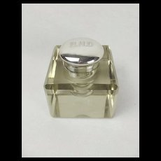 Heavy Glass & Silver Inkwell London c1900