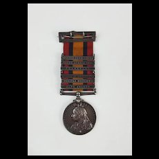 Boer War Queens South Africa Medal With Six Clasps Awarded To Pte J.W. Montgomery - Royal Scots Fusiliers