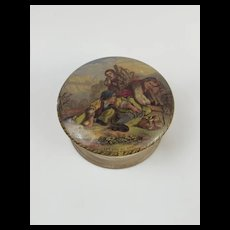 Victorian Prattware Lidded Pot 'I See You My Boy'