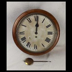Circa 1940 G.R. Oak Round Dial Wall Single Fusee Clock