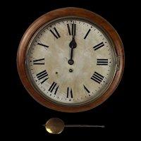 Circa 1940 G.R. Oak Round Dial Wall Single Fusee Clock