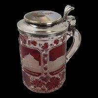 Late Victorian Cranberry Glass Tankard With Silver Lid And Painted Porcelain Top