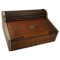 19th Century Military Campaign Camphor Wood Roll Top Writing Slope