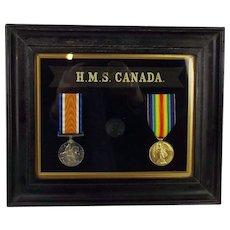 WW1 Framed Medal Pair - HMS Canada - A. Benson A.B.R.N.