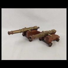 Pair Of Decorative Brass Model Naval Cannons