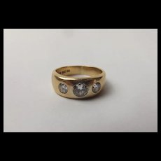 Gents 18ct Yellow Gold Three Stone Diamond Ring UK Size T US 9 ½