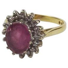 18ct Yellow Gold Pink Garnet & Diamond Flower Head Ring UK Size N US 6 ½