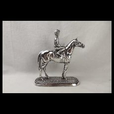 Silver Statue Of A Horse & Jockey Sheffield 1996