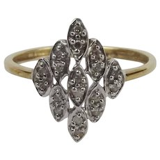 9ct Yellow Gold & Platinum Diamond Cluster Ring UK Size L+ US 6