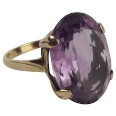 9ct Yellow Gold Amethyst Ring UK Size L US 5 ½