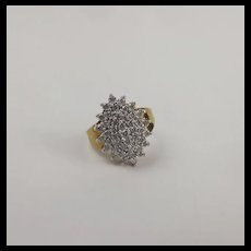 9ct Yellow Gold Diamond Cluster Ring UK Size M+ US 6 ¼