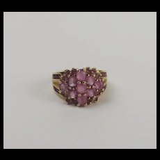 9ct Yellow Gold & Pink Sapphire Cluster Ring UK Size M US 6
