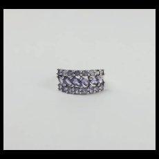 9ct White Gold Iolite Cluster Ring UK Size M US 6