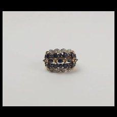 9ct Yellow Gold Sapphire & Diamond Cluster Ring UK Size K+ US 5 ½