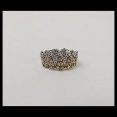 9ct Yellow Gold White & Yellow Diamond Cluster Ring UK Size L US 5 ½
