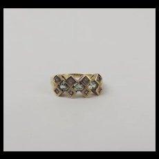 9ct Yellow Gold Topaz & Sapphire Ring UK Size M+ US 6 ¼