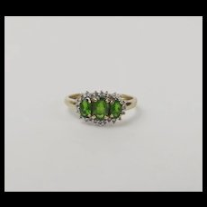 9ct Yellow Gold Russian Diopside & Diamond Ring UK Size R US 8 ¾