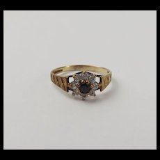 9ct Yellow Gold Sapphire & Cubic Zirconia Flower Head Ring UK Size L+ US 6