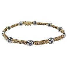 14ct Yellow Gold Sapphire & Cubic Zirconia Bracelet