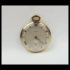 9ct Yellow Gold Garrard Open Face Manual Pocket Watch c1984
