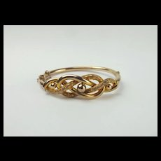 9ct Yellow Gold Infinity Knot Style Bangle