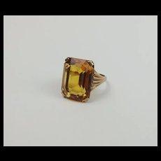 9ct Yellow Gold Yellow Glass Ring UK size L+ US 6