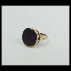 9ct Yellow Gold Bloodstone Ring UK Size L US 5 ½