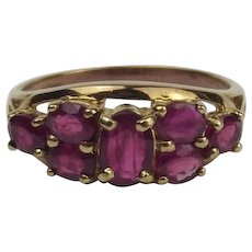 9ct Yellow Gold Ruby Cluster Ring UK Size O US 7