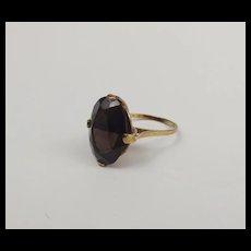 9ct Yellow Gold Smokey Quartz Ring UK Size L US 5 ½