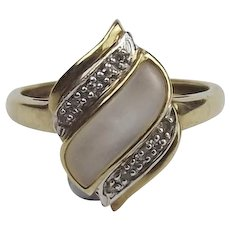 9ct Yellow Gold Diamond & Mother Of Pearl Ring UK Size R US 8 ½