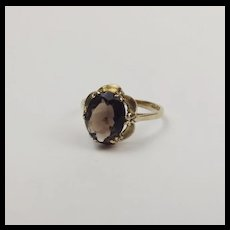 9ct Yellow Gold Smokey Quartz Ring UK Size N US 6 ½