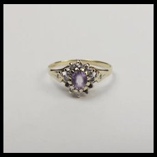 9ct Yellow Gold Amethyst & Diamond Flower Head Ring UK Size L+ US 6