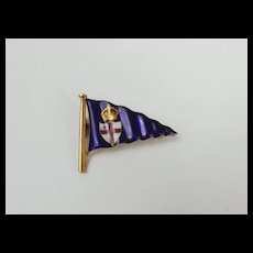18ct Gold & Enamel Club Burgee Badge By Benzie Of Cowes