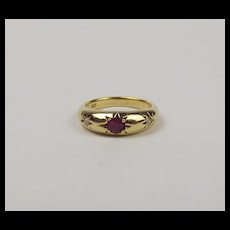 18Ct Yellow Gold Ruby & Diamond Ring UK Size P US 7 ½