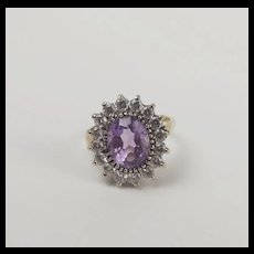 9Ct Yellow Gold Amethyst & Cubic Zirconia Flower Head Ring UK Size N+ US 6 3/4