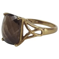 9Ct Yellow Gold Smokey Quartz Ring UK Size O+ US 7 ¼